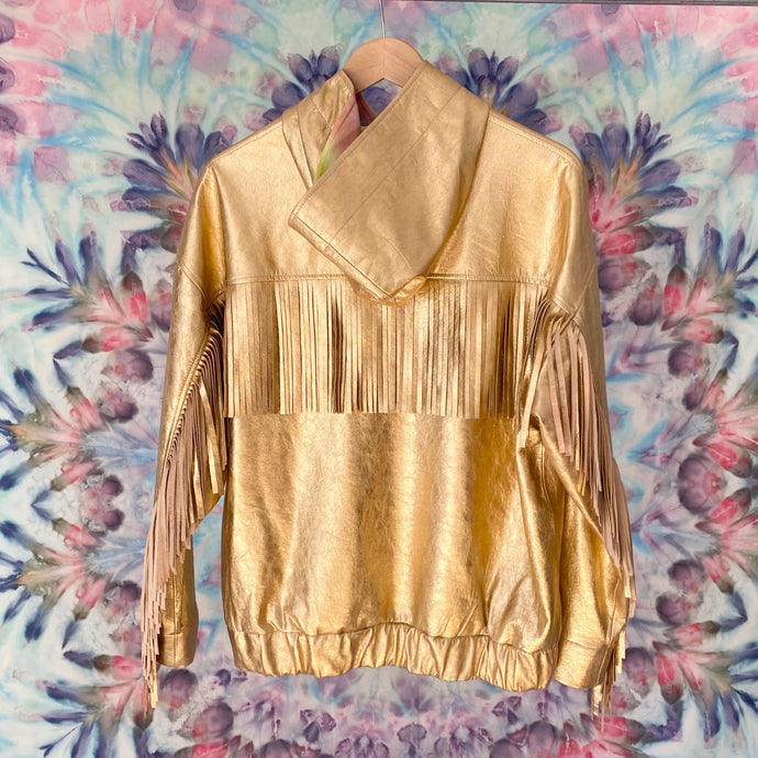 Goldie IT'S A FAD. Fringe Leather Jacket