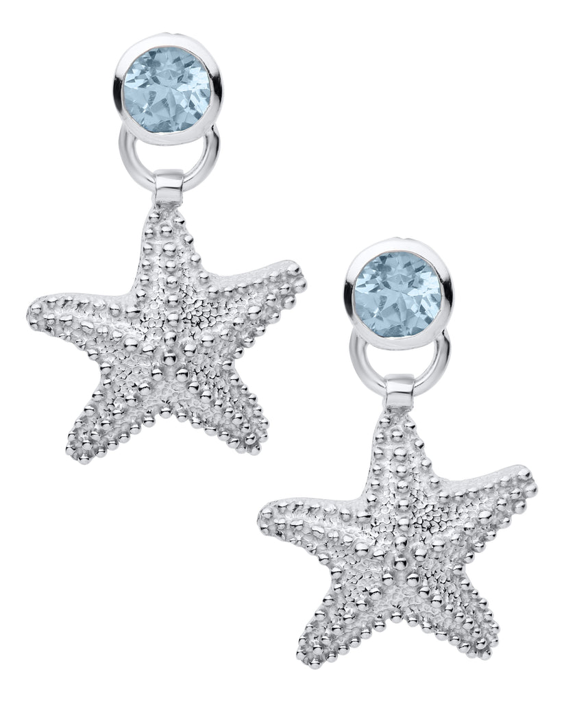 Starfish and Blue Topaz Earrings