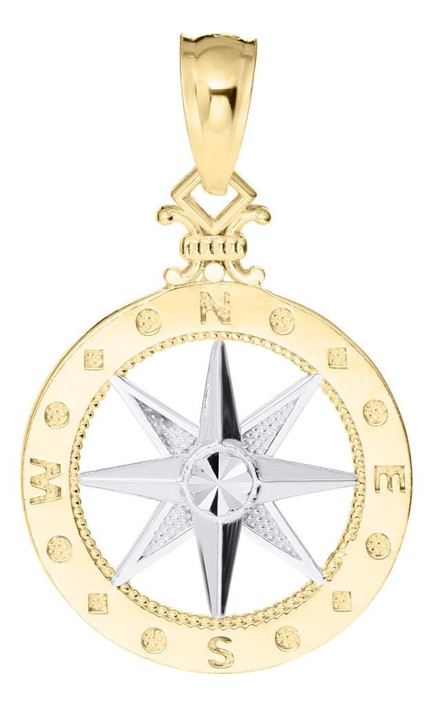 14KT Two Tone Compass Rose Necklace