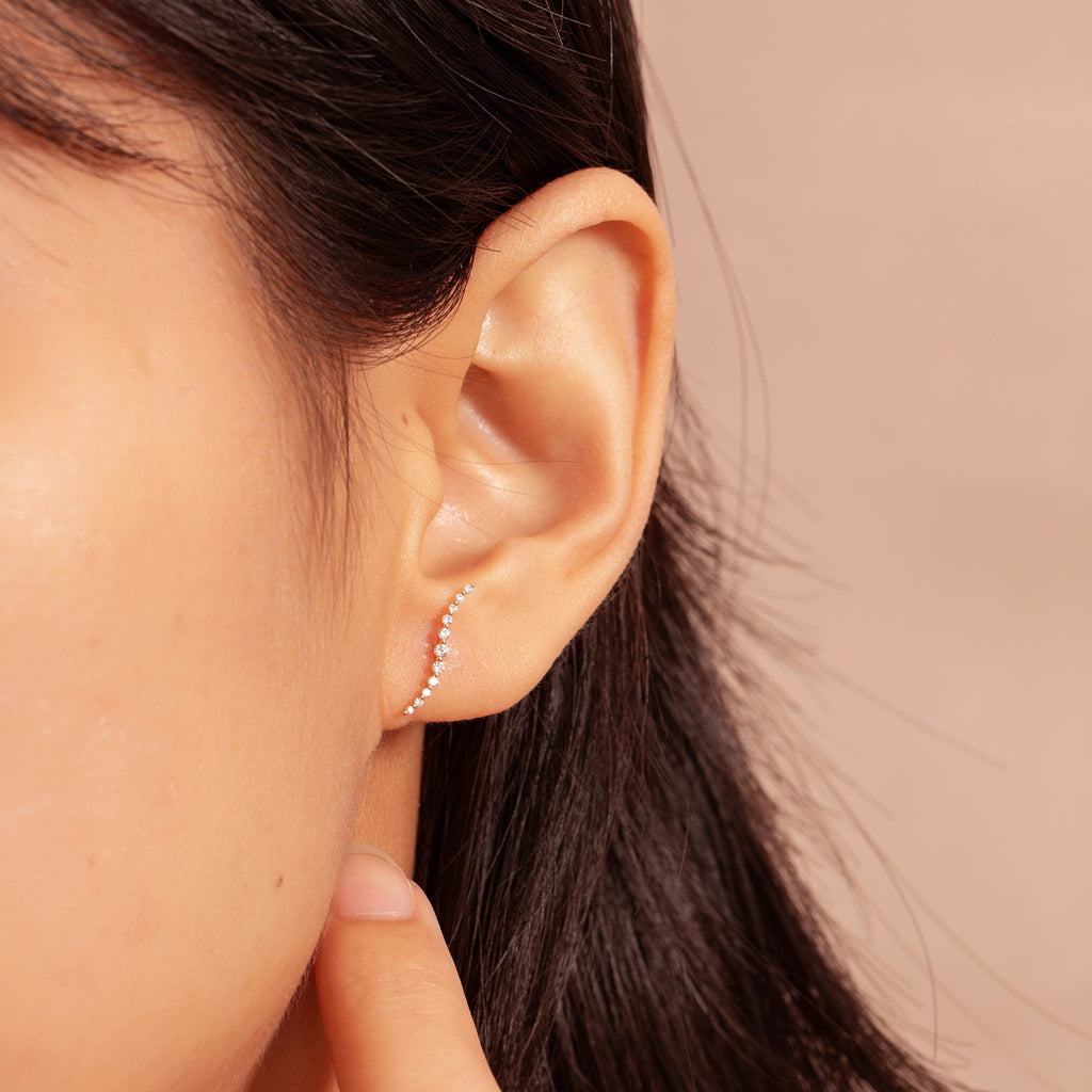 WHITNEY | Diamond  Ear Climber Studs