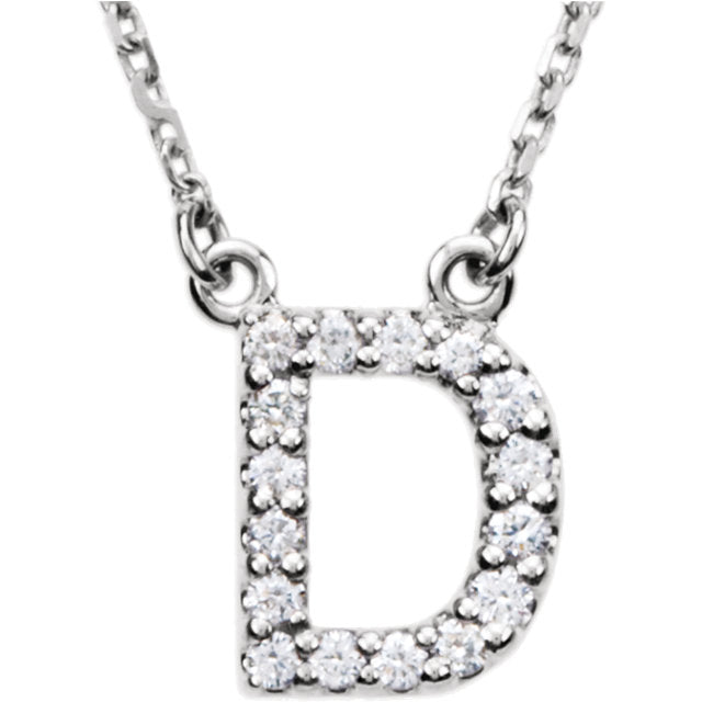 "14K White Gold ""Initial"" Letter Necklace"