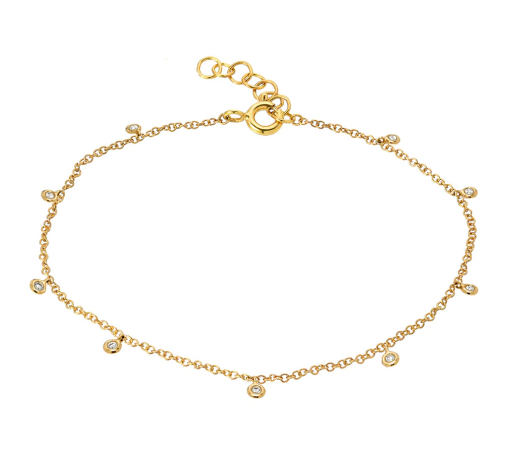 14k Gold Drop Bezel Anklet
