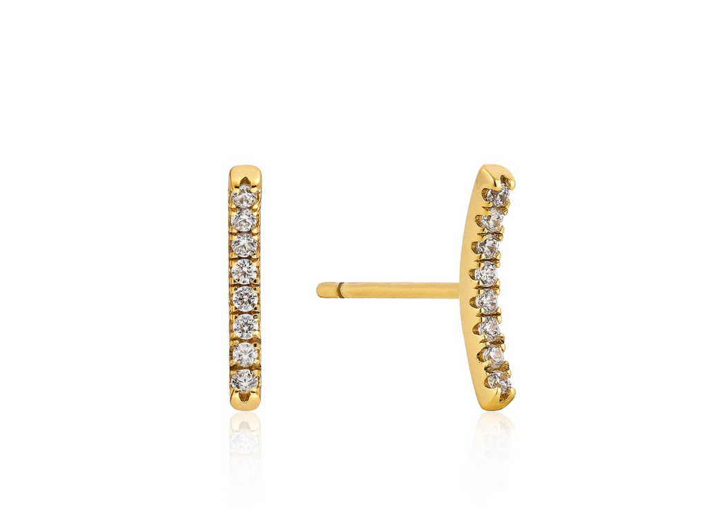Shimmer Pave Bar Stud Earrings