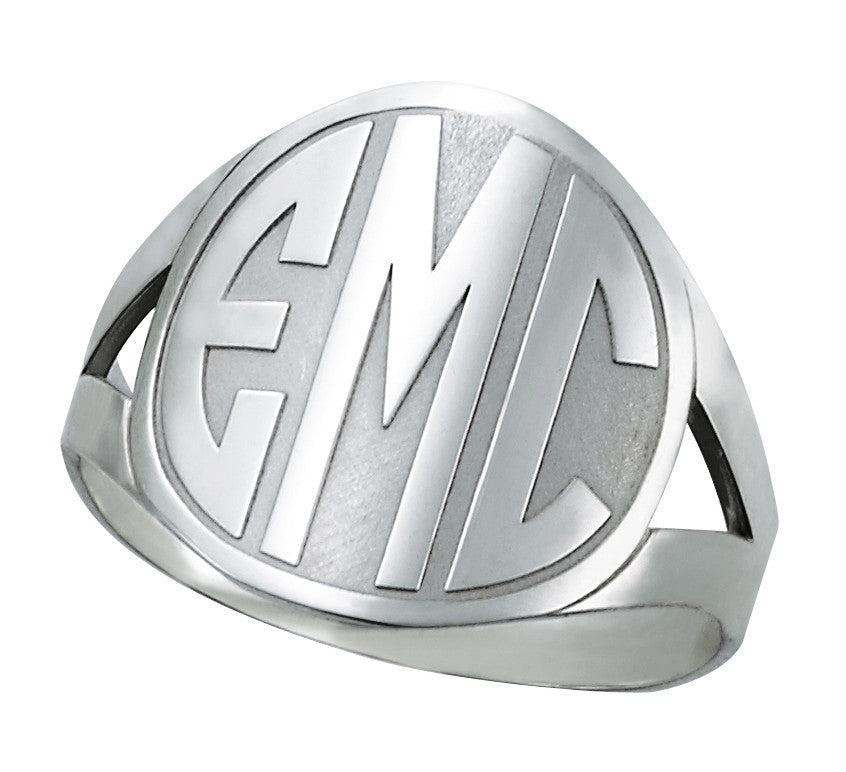 Enclosed Circle Block Monogram Ring