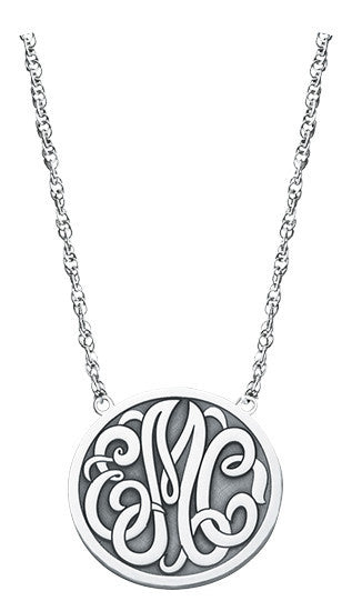 Enclosed Circle Script Monogram Necklace