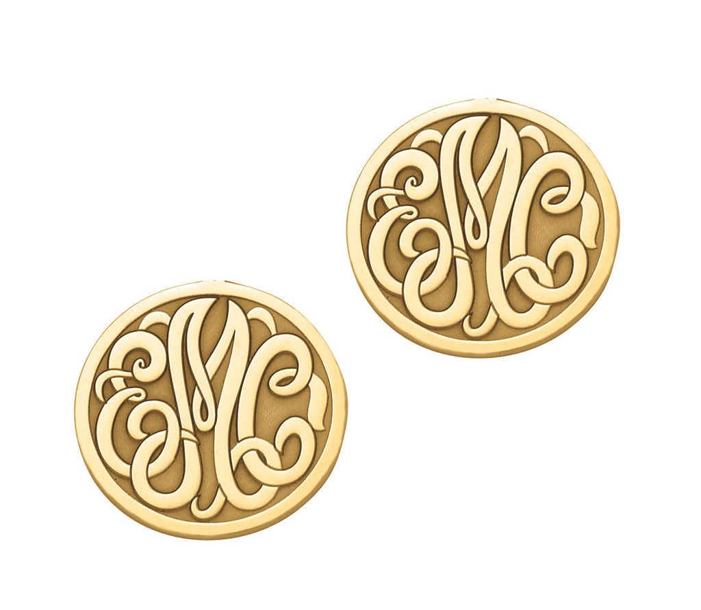 Enclosed Circle Script Monogram Post & Clutch Earrings