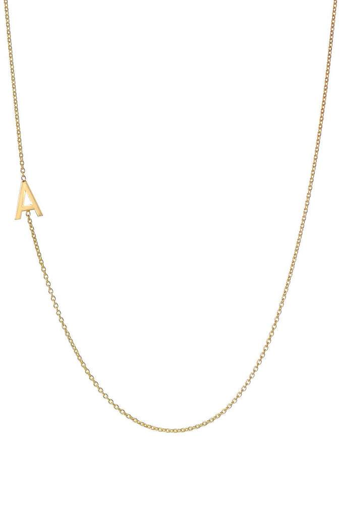 "18"" Gold Asymmetrical Initial Necklace"