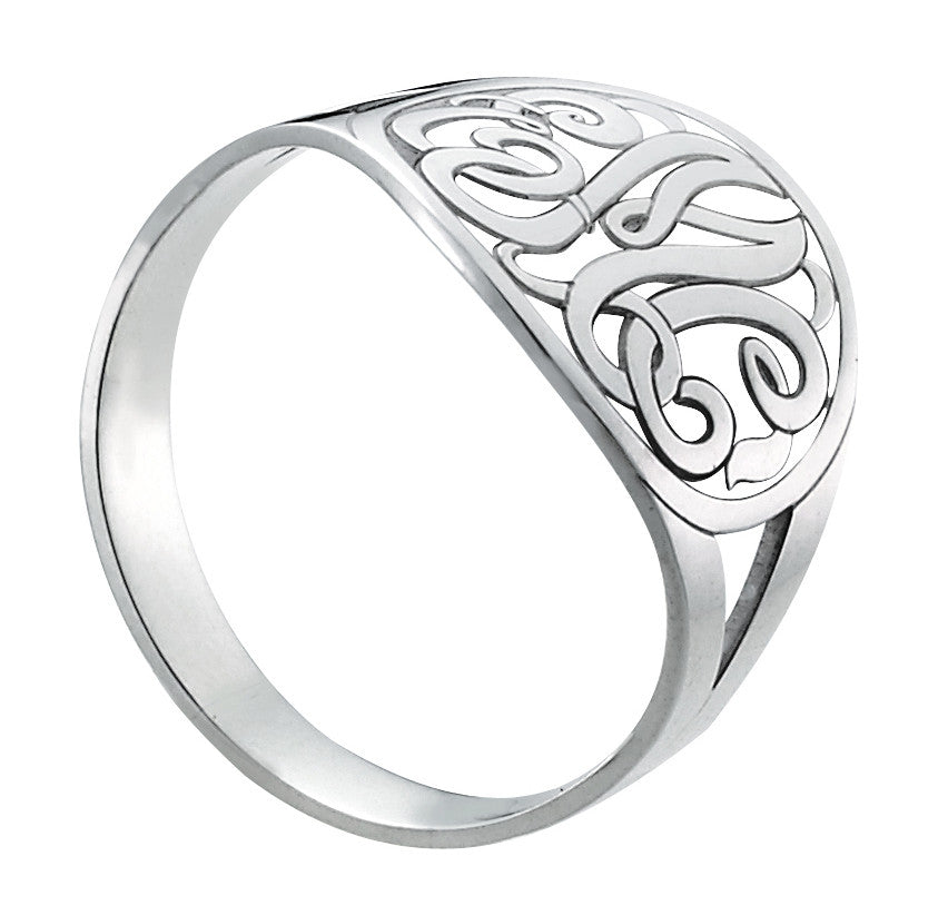 Open Circle Script Monogram Ring