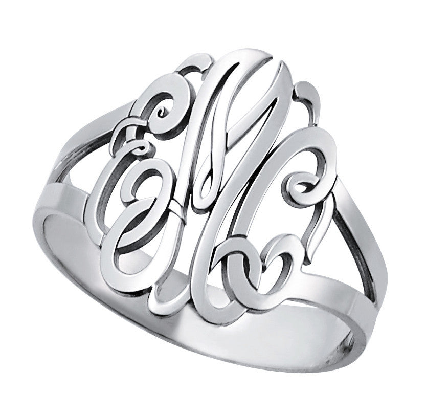 Traditional Script Monogram Ring