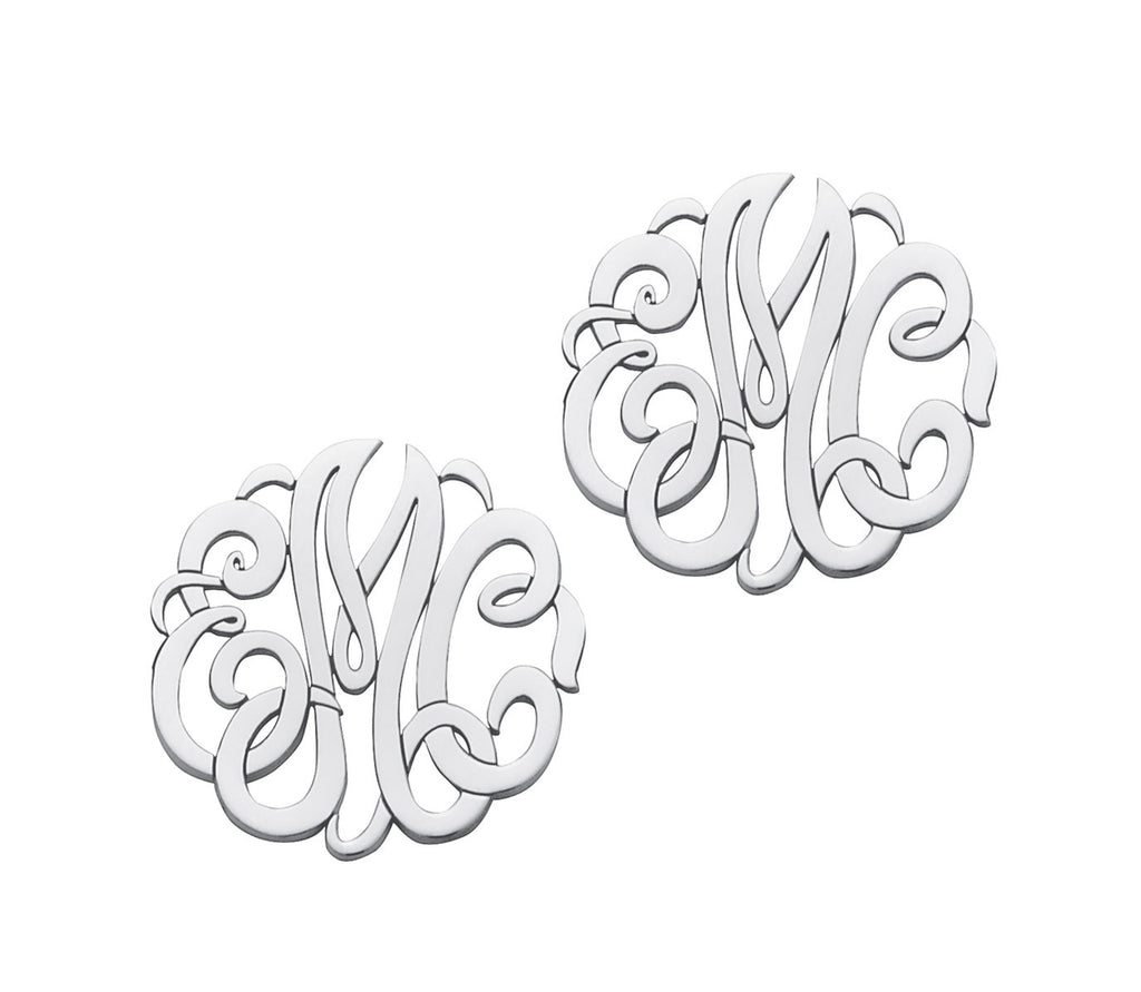 Traditional Script Monogram Post & Clutch Earrings