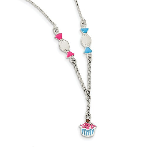 Sterling Silver Enamel Garnet Candy And Ice Cream Childs Necklace