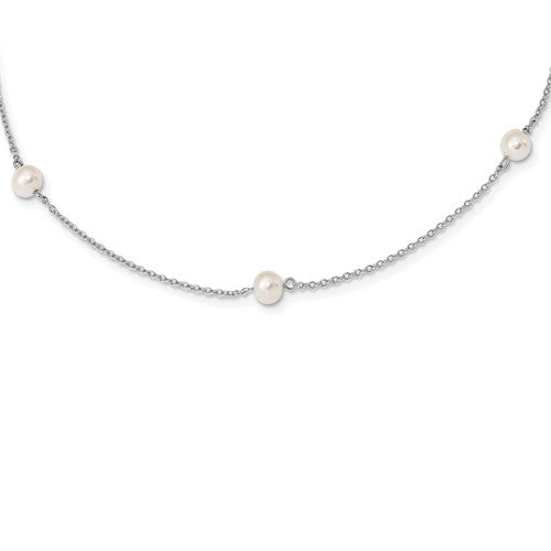 Sterling Silver  Childs 5-5.5mm Freshwater Pearl 5-Station Necklace