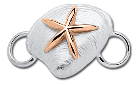 Clam With Starfish- 14k Rose Gold & Sterling Silver