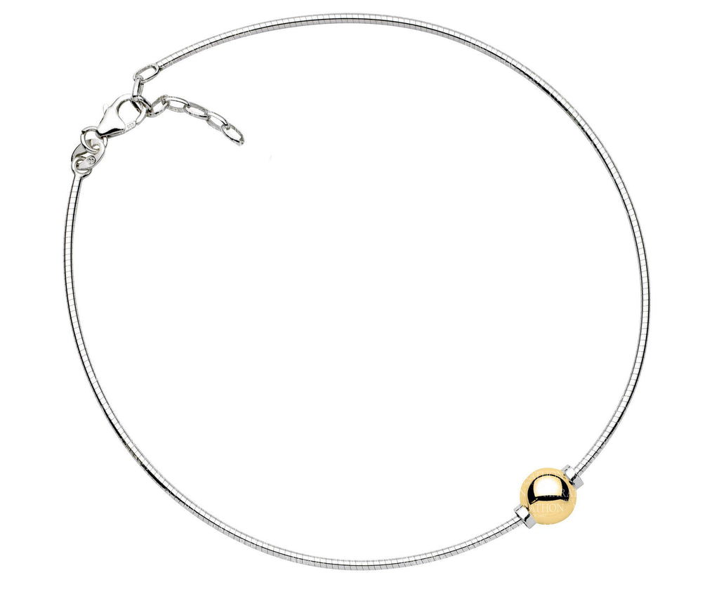 SS/14K CC ANKLET-1 BEAD-10″CHN
