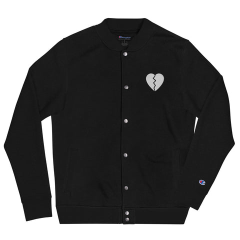 Broken Heart Black Embroidered Champion Bomber Jacket