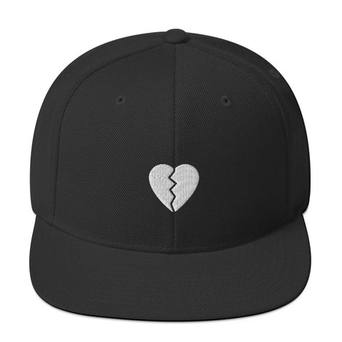 Broken Heart Black Snapback Hat