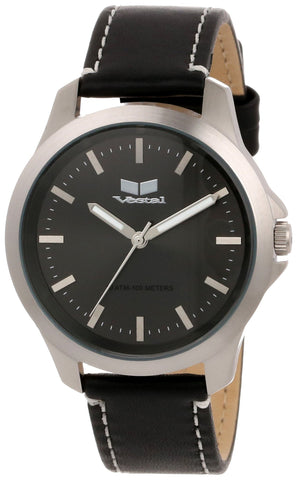 Vestal Unisex HER3L02 Heirloom Leather Black Silver Watch