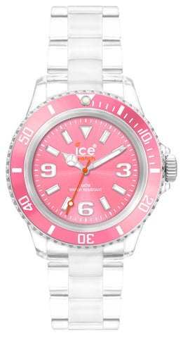 Ice-Watch Unisex CL.PK.U.P.09 Classic Collection Pink Dial Clear Plastic Watch