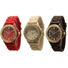 (Red  Beige  Brown) w/ Gold Tone Platinum Silicone Rubber Jelly w/ CZ Crystal Rhinestones Face Bling Bezel Watch