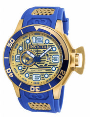 Invicta Men's 18834 Corduba Quartz 3 Hand Blue, Gold Dial Watch