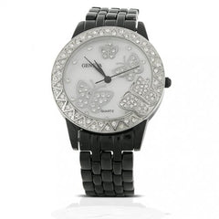 Bling Jewelry Geneva Black Enamel with Mother-of-Pearl Butterfly Watch