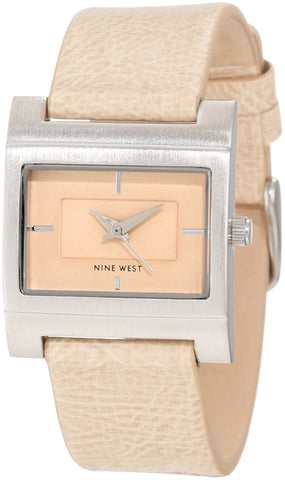 Nine West Women's NW/1345CMCM Rectangle Silver-Tone Cream Strap Watch