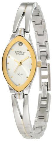 Armitron Women's 753023SIL NOW Diamond Accented Two-Tone Bangle Dress Watch