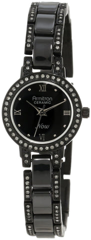 Armitron Women's 75/3919BKTI Ceramic Swarovski Crystal Accented Link Black Ion-Plated Bracelet Watch