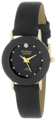 Armitron Women's 75-2447BLK NOW Diamond Accented Gold-Tone Black Leather Watch