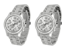 2 PACK Geneva Silver Plated Classic Round CZ Ladies Boyfriend Watch