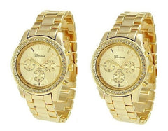 2 PACK Geneva Gold Plated Classic Round CZ Ladies Boyfriend Watch