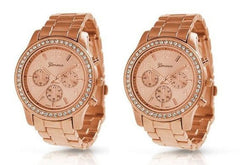 2 PACK Geneva Rose Gold Plated Classic Round CZ Ladies Boyfriend Watch