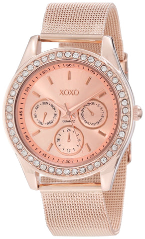 XOXO Women's XO5599  Rosegold-tone Mesh Band Watch