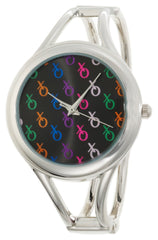 XOXO Women's XO1084 Colorful Dial Silver-tone Bangle Watch
