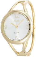 XOXO Women's XO1096 Silver Dial Gold-tone Bangle Watch