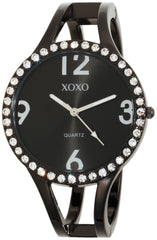 XOXO Women's XO1093 Black Dial Gun Metal Bangle Watch