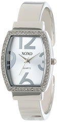 XOXO Women's XO1095 Rhinestone Accented Tonneau Silver Dial Bangle Watch