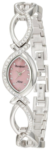 Armitron Women's 75/3477PMSV NOW Swarovski Crystal Accented Silver-Tone Pink Dial Watch