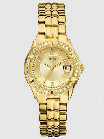 GUESS Women's U85110L1 Dazzling Sporty Mid-Size Gold-Tone Watch