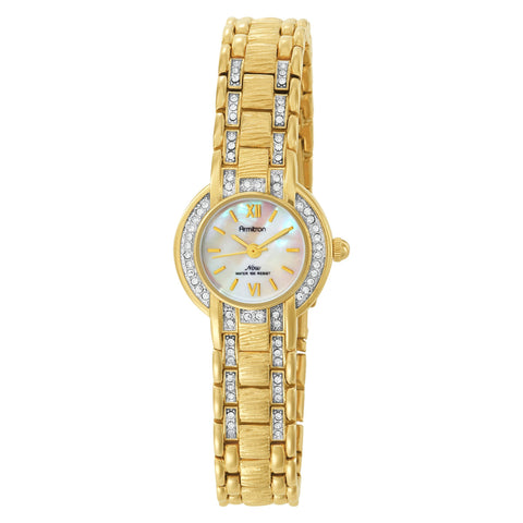 Armitron Women's 753581MPGP NOW Swarovski Crystal Accented Gold-Tone Dress Watch