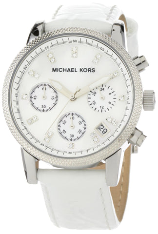 Michael Kors Women's MK5049 White Leather Round Chronograph Watch