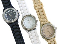 3 Geneva Crystal Watches with Silicone Strap Black & White & Cream/Gold