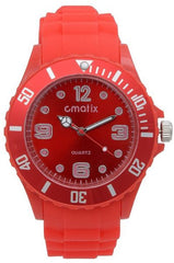 Cmatix Unisex Red Dial Rubber Band Watch [UMB-SW-011-10]