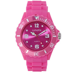 Cmatix Ladies Hot Pink Dial Rubber Band Watch [UMB-SW-011-12]
