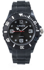 Cmatix Unisex Black Dial Rubber Band Watch [UMB-SW-011-1]