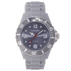 Cmatix Unisex Grey Dial Rubber Band Watch [UMB-SW-011-3]