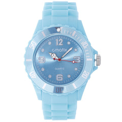 Cmatix Unisex Light Blue Dial Rubber Band Watch [UMB-SW-011-5]