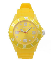 Cmatix Unisex Yellow Dial Rubber Band Watch [UMB-SW-011-6]