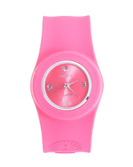 Cmatix Ladies Pink Dial Silicone Band Slap Watch [UMB-SW-02-13]