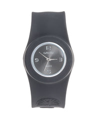 Cmatix Unisex Black Dial Silicone Band Slap Watch [UMB-SW-02-1]